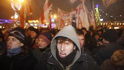 Protesters denounce the Belarus presidential election Sunday in the capital, Minsk. They allege that it was falsified.
