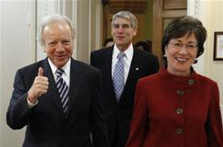 Sen. Joe Lieberman gives a thumbs up, with Sens. Susan Collins and Mark Udall on Dec. 18 before discussing the &quot;don't ask, don't tell&quot; policy.
