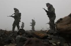South Korean army soldiers patrol near the seaside in Dangjin, south of Seoul, on Tuesday.