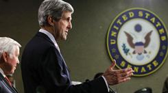 Sen. John Kerry, D-Mass., chairman of the Senate Foreign Relations Committee, speaks at a news conference Tuesday, with the top-ranking Republican on the panel, Sen. Richard Lugar, at his side.