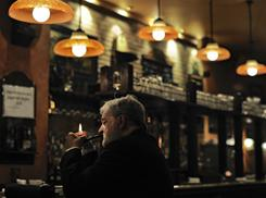 A man smokes in a bar in Pamplona, Spain, on Tuesday.