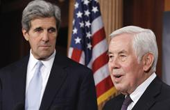 Senate Foreign Relations Committee Chairman Sen. John Kerry, D-Mass., left, and the committee's ranking Republican, Richard Lugar of Indiana, discuss the ratification of the New START pact.