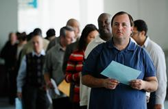 Job seekers line up to enter Choice Career Fair on Dec. 1 at the Los Angeles Convention Center.