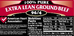 A nutrition label on ground beef, which will be required under new federal rules.