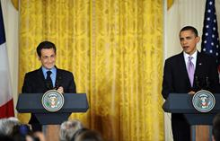 President Obama and French President Nicolas Sarkozy give a joint press conference in March.
