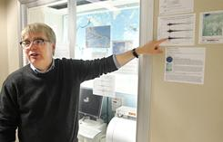 Robert Nowack points to a printout of the seismic activity as he discusses the earthquake that took place in Central Indiana on Thursday. The U.S. Geological Survey reported a 3.8 magnitude earthquake centered 5 miles southeast of Greentown, Ind., at 7:55:21 a.m. Thursday. Nowack, who is professor of earth and atmospheric sciences at Purdue University in West Lafayette, Ind., said the event is notable because earthquakes rarely occur in that part of the state.