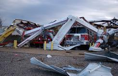 The station for the Cincinnati, Ark., volunteer fire department was destroyed Friday morning when an apparent tornado swept across the rural community. Three people died when a nearby home and barn were destroyed by the storm.