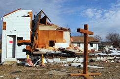 The original Shiloh Baptist Church on Highway N in Robertsville, Mo., sits damaged Saturday, Jan. 1, 2011, after a New Year's Eve storm passed through the area.