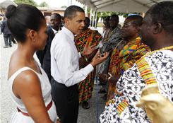 President Obama and first lady Michelle Obama visit the La General Hospital in Accra, Ghana. The U.S. president plans to increase engagement with Africa in 2011.