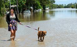 Zeanna Lavars walks her dog Peach along a flooded street after the Fitzroy River broke its banks and inundated much of Rockhampton, Australia, on Tuesday.