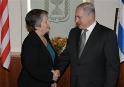 Israel's Prime Minister Benjamin Netanyahu shakes hands with U.S. Secretary of Homeland Security, Janet Napolitano, during their meeting in Jerusalem on January 4, 2011.