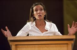 NPR Senior Vice President for News Ellen Weiss speaks to a group of citizens at The Public Policy Forum at the Center for the Arts in Crested Butte, Colo. on July 14. Weiss, who played a crucial role in the firing of commentator Juan Williams, has resigned from the radio network.