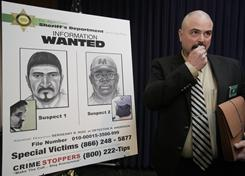 Los Angeles County Sheriff's Special Victims Bureau detective Ron Anderson speaks during a news conference releasing information on multiple sexual assault suspects Thursday. Detectives seek to identify at least four male suspects involved in the sexual assaults of at least ten severely disabled women.