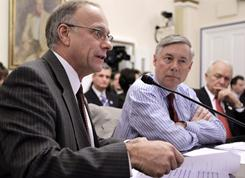 From left, Rep. Steve King, R-Iowa, Rep. Fred Upton, R-Mich. and Rep. John Kline, R-Minn., testify on Capitol Hill in Washington on Thursday before the House Rules Committee meeting regarding floor debate on legislation that would repeal the health care overhaul bill.