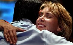 Rep. Gabrielle Giffords gets a hug from a supporter at the Pima County Democratic election party Nov. 2 at the Marriott in Tucson.