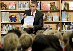 President Obama reads to students during a visit to Long Branch Elementary in Arlington, Va. on Dec. 17, 2010.