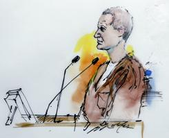 This courtroom drawing shows Arizona shooting suspect Jared Loughner on Monday.