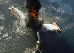 The Deepwater Horizon oil rig burns after an explosion in April in the Gulf of Mexico, off the southeast tip of Louisiana.