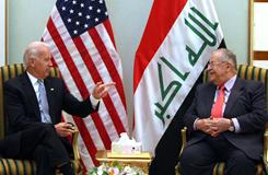 US Vice President Joe Biden gestures during his meeting with Iraqi President Jalal Talabani in Baghdad on Thursday.