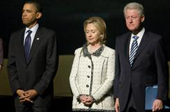 President Obama, Secretary of State Hillary Clinton, and former president Bill Clinton attend a memorial service for Ambassador Richard Holbrooke Friday at the Kennedy Center in Washington.