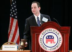 Reince Priebus conducts committee business after he was elected to be the new chairman of the National Republican Committee on Friday. The members of the committee picked Priebus after seven rounds of votes.