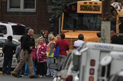 Children board a bus at Parkview Elementary School in Westville, N.J., last November.