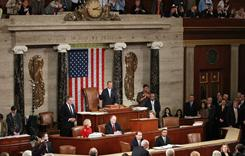Speaker of the House John Boehner, R-Ohio, is sworn in by Rep. John Dingell, D-Mich., following his election in the House chamber on Jan. 5. That day, the GOP took control of the House.