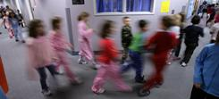 Walking laps around the hallway is one option for Fairbanks, Alaska, students when their recess time is inside due to cold weather.