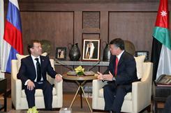 Russian President Dmitry Medvedev, left, meets with King Abdullah II of Jordan in Amman on Jan. 19, 2011.