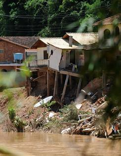 Houses toppled by the floods in Areal, state of Rio de Janeiro, Brazil, on January 20, 2011.