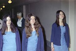 In this file photo taken Aug. 20, 1970, Charles Manson follower Patricia Krenwinkel, center, is seen walking to court to appear for her role in the 1969 cult killings of seven people in Los Angeles, Calif.