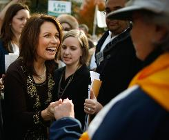 Rep. Michele Bachmann, R-Minn., greets supporters during a rally in Washington, D.C., last November.