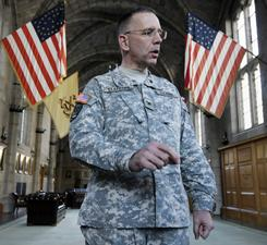 West Point Chief of Staff Col. Charles Stafford talks Friday about the former Iranian hostages when he was a cadet in 1981 at West Point during a 30th reunion ceremony at the United States Military Academy at West Point, N.Y.