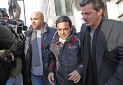 Angelo Spata, center, leaves Brooklyn federal court after posting bail Thursday in New York. Spata, accused of being an associate of the Colombo crime family, was arrested Thursday in one of the biggest Mafia takedowns in FBI history.