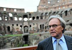 Diego Della Valle, the founder of Tod's shoe company, speaks before Friday's news conference. He offered to restore the Colosseum in Rome.