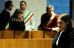 Amanda Knox is pictured Saturday during her appeal trial in Perugia's courthouse. An appeals court ruled to give forensic experts 90 days to review evidence linking Knox to the murder of a British student.