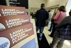 Job-seekers wait in line for assistance at an employment center, in Las Vegas in November. In today's ultracompetitive job market, some companies have explicitly barred the unemployed or long-term unemployed from certain job openings.