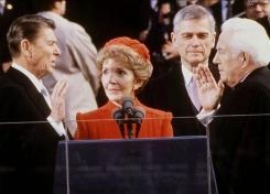 President Reagan takes the oath of office from Supreme Court Chief Justice Warren Burger on Jan. 20, 1981.
