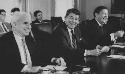 President Reagan, center, and Sen. John McCain, R-Ariz., left, meet with members of Congress at the White House on Jan. 26, 1988.