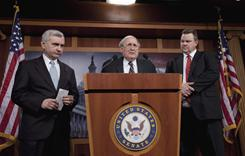 Senate Armed Services Committee Chairman Carl Levin, center, accompanied by committee member Sen. Jack Reed, left, and Sen. Jon Tester speak to reporters about their recent trip to Afghanistan.