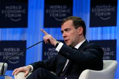Russia's President Dmitry Medvedev said attackers bombed Moscow's main airport to prevent him from addressing the Davos global business forum.