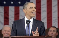 President Obama makes a point during his State of the Union address Jan. 25, 2011, on Capitol Hill in Washington.