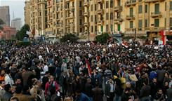 Protesters rally against the Egyptian government in Tahrir Square. The U.S. plans to begin evacuating Americans out of Eqypt on Monday.
