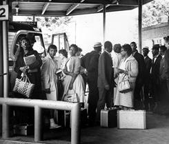 Freedom Riders are photographed at the bus station in downtown Montgomery, Ala., in 1961.