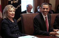 Secretary of State Hillary Rodham Clinton briefs President Obama and his Cabinet on events in Egypt on Tuesday.