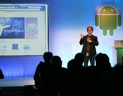 Chris Yerga, engineering director of Google, demonstrates some applications of the mobile operating system Android 3.0 known as Honeycomb Thursday in Mountain View, Calif.