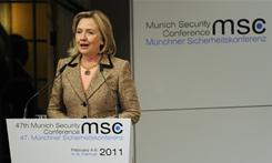 Secretary of State Hillary Clinton addresses the 47th Munich Security Conference at the Bayerischer Hof hotel in the southern German city of Munich on Saturday.