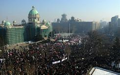 Supporters of the Serbian opposition rally during a mass protest in downtown Belgrade on Saturday.