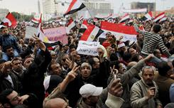 Anti-government protesters demonstrate Sunday in Cairo's Tahrir Square.