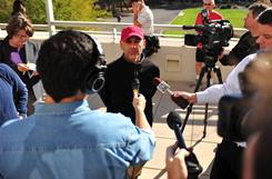 C.J. Karamargin, communications director for Rep. Gabrielle Giffords, speaks with the media outside the University Medical Center in Tucson on Jan. 8, hours after Giffords was shot.